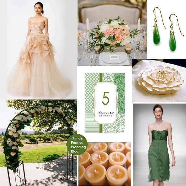 Forest green peach and ivory wedding theme wedding for Forest green wedding dress