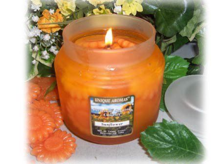 16 oz Gel Sunflower Scent Candle by Unique Aromas. $29.25. Price per jar candle. Sunflower scent. Candle color may vary from photograph. 16 oz Frosted Jar with matching heavy flat lid. Each 16 oz Gel Candle can burn up to 150 hours.Some assembly may be required. Please see product details.Some assembly may be required. Please see product details.