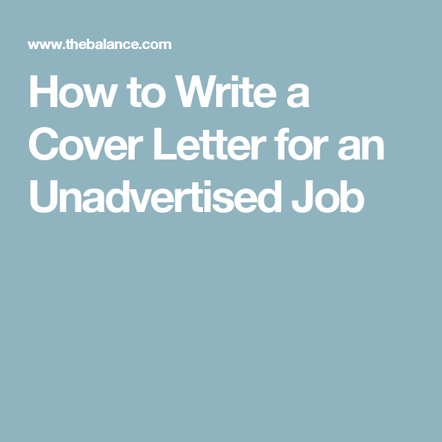 Best Cover Letter Tips For Unadvertised Jobs  Job Search
