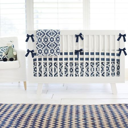 This navy baby bedding is fun and colorful, centered around a whimsical tribal pattern! This aztec baby bedding is from our Arizona in Navy Tribal Crib Collection!
