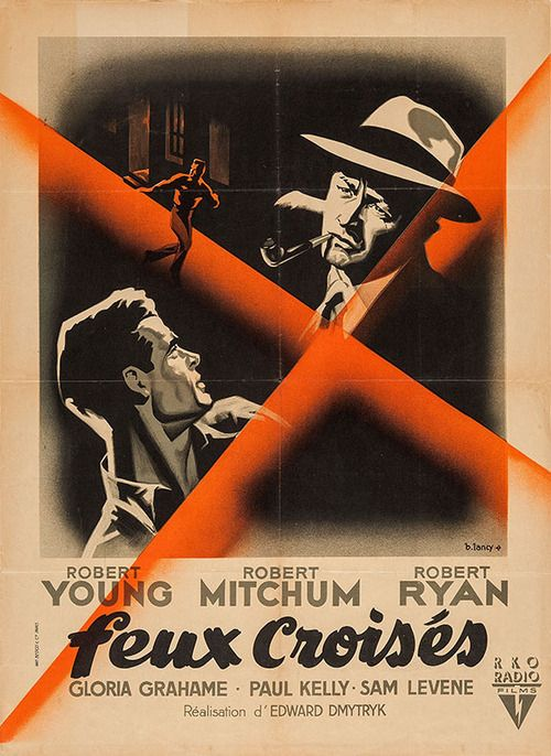 French Affiche For Crossfire Edward Dmytryk Usa 1947 Artist Bernard Lancy Best Film Noir Noir Movie Movie Posters