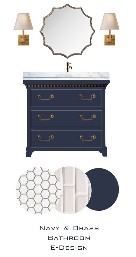 Knox bathroom  blue vanity  white subway tile for shower  penny rounds white  tile. Chic bathroom design with white marble countertops and navy