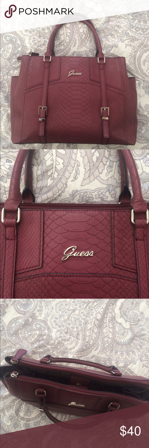 Burgundy Guess purse Guess handbag. Burgundy plum color. Snakeskin texture.  Inside is leopard print. No flaws. Only used once! Guess Bags Totes bae94613ec45d