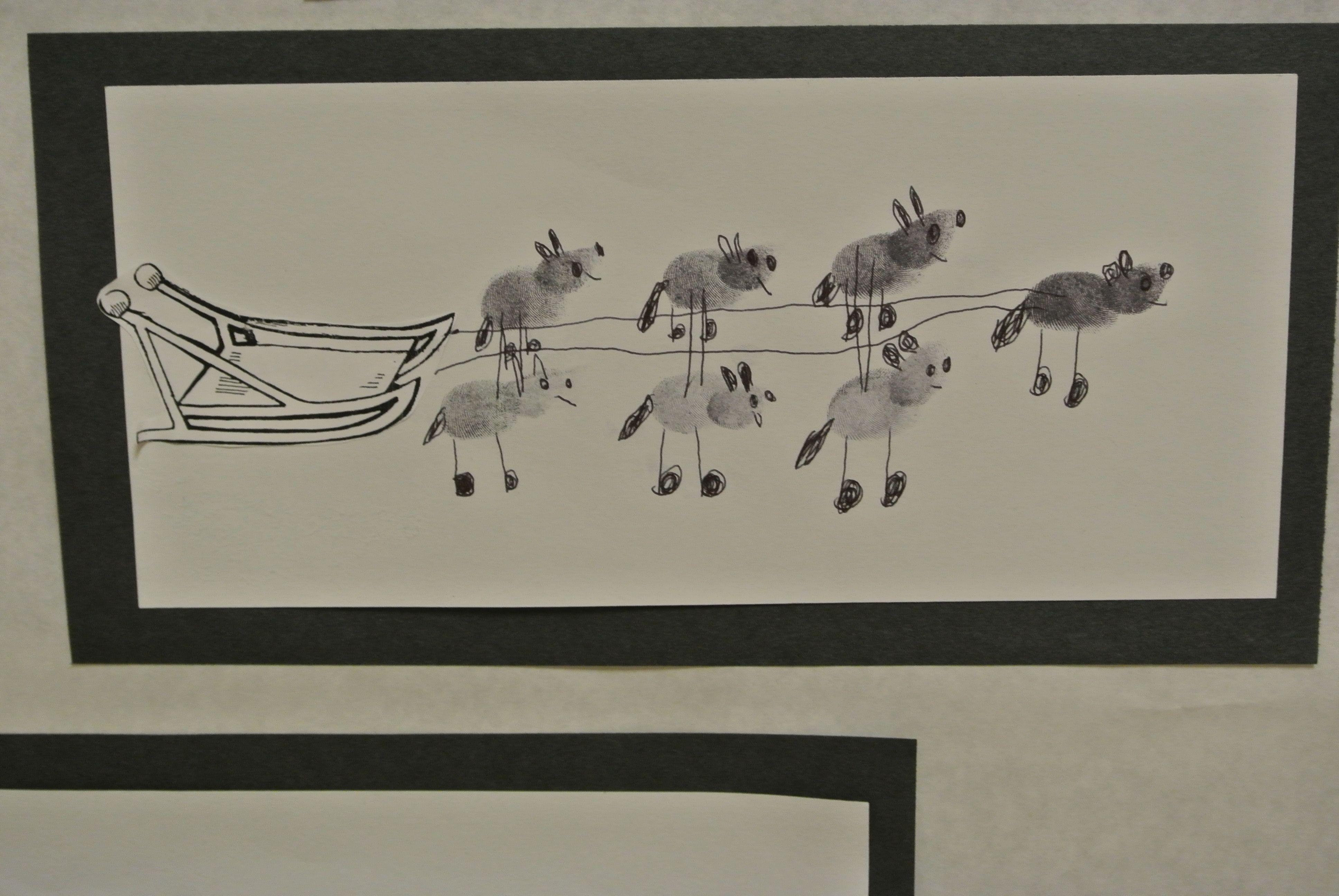 Thumbprint Dogs Withsled Iditarod Fingerprint Art Thumb