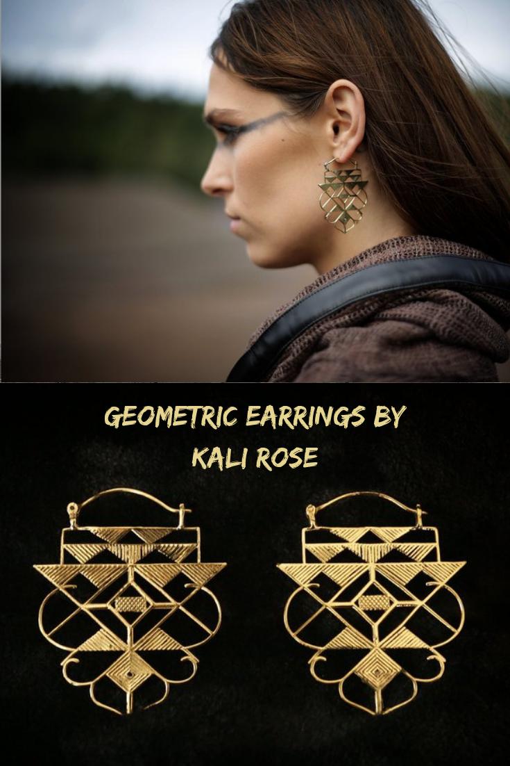 dangle earrings-triangle tribal earrings-brass hoop earrings-geometric jewelry-designed earrings-unique jewelry Geometric Earrings