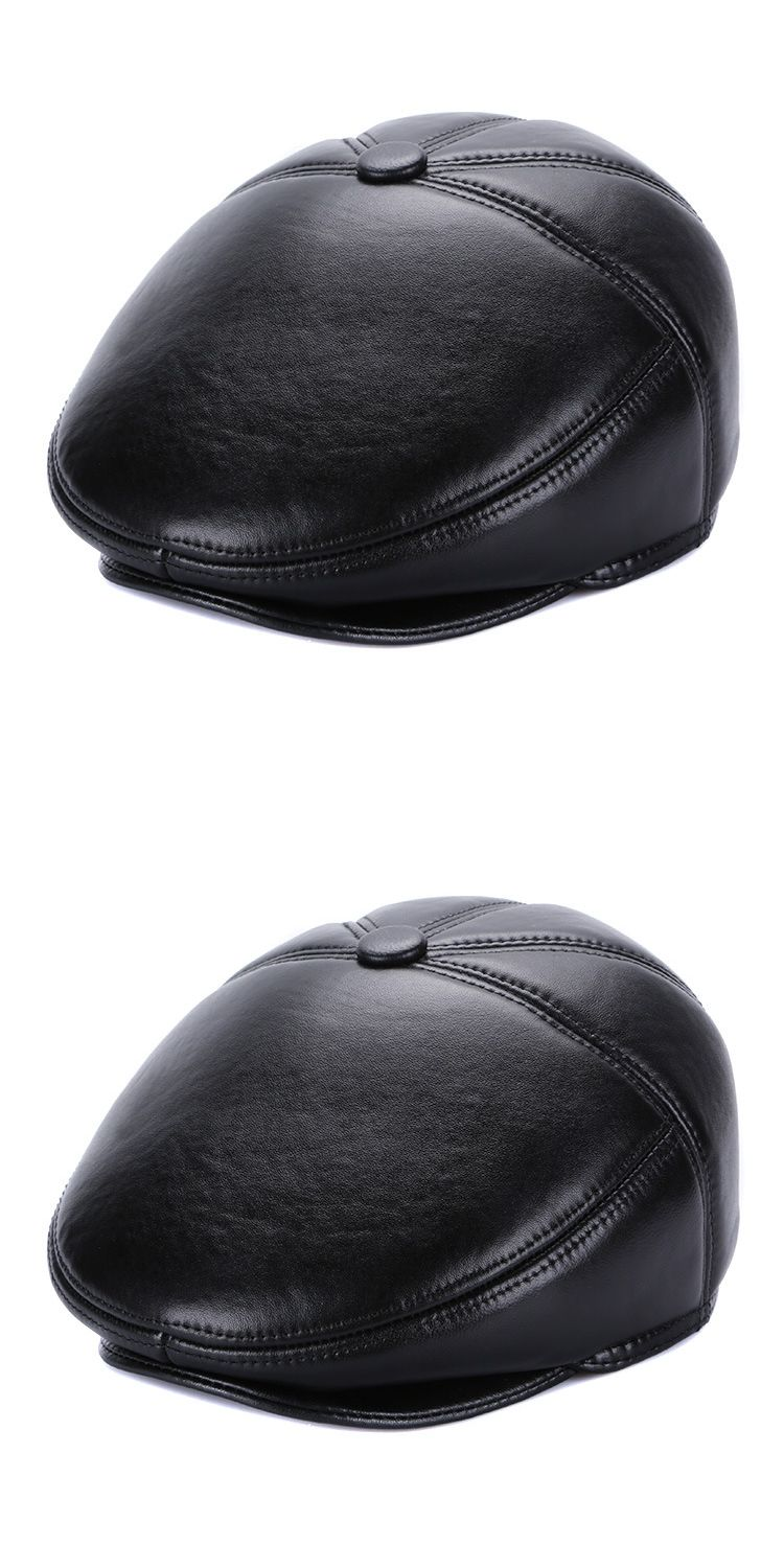 1ea0ae447b3 New Arrival Sheepskin Visor Hat Elder Man Genuine Leather Cap Male Winter  Warm Hat Father Peaked