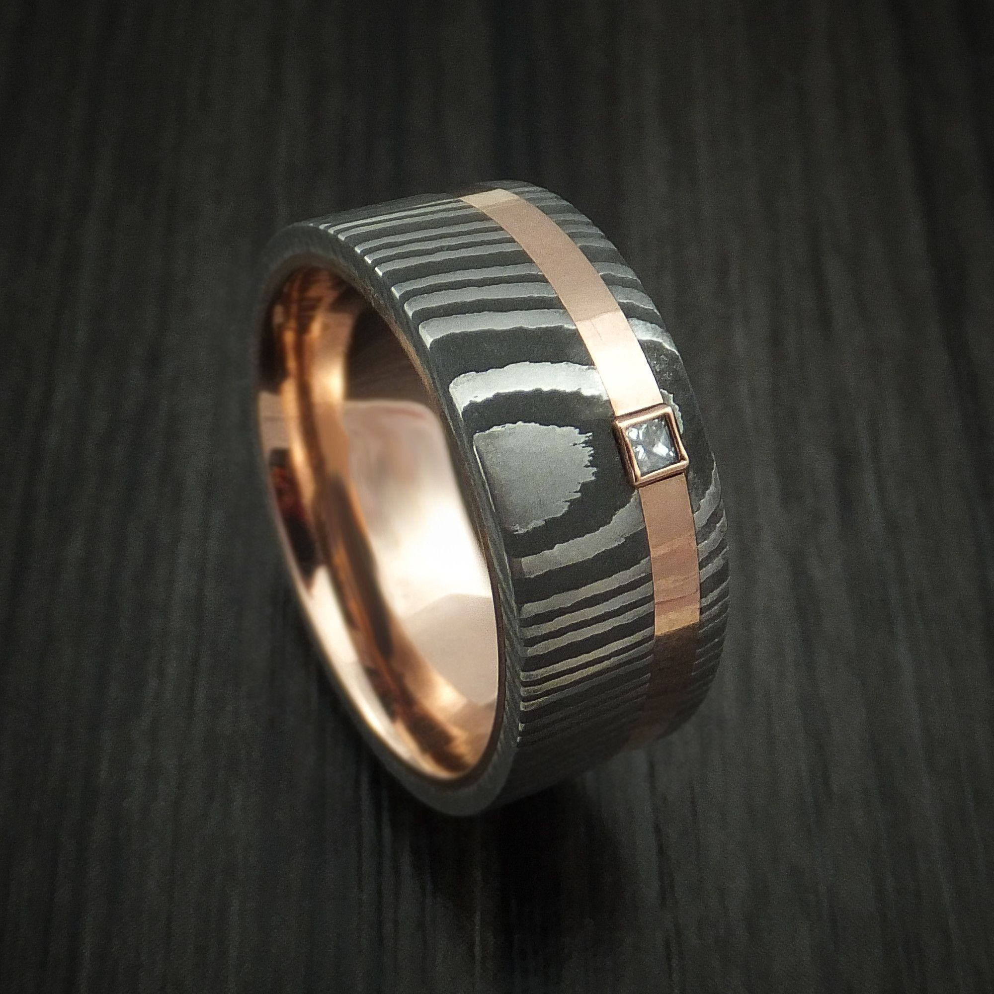 Damascus Steel Ring with 14k Rose Gold Inlay and Sleeve and