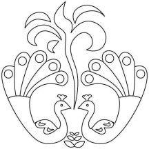 Beautiful Peacock Rangoli Design Coloring Page