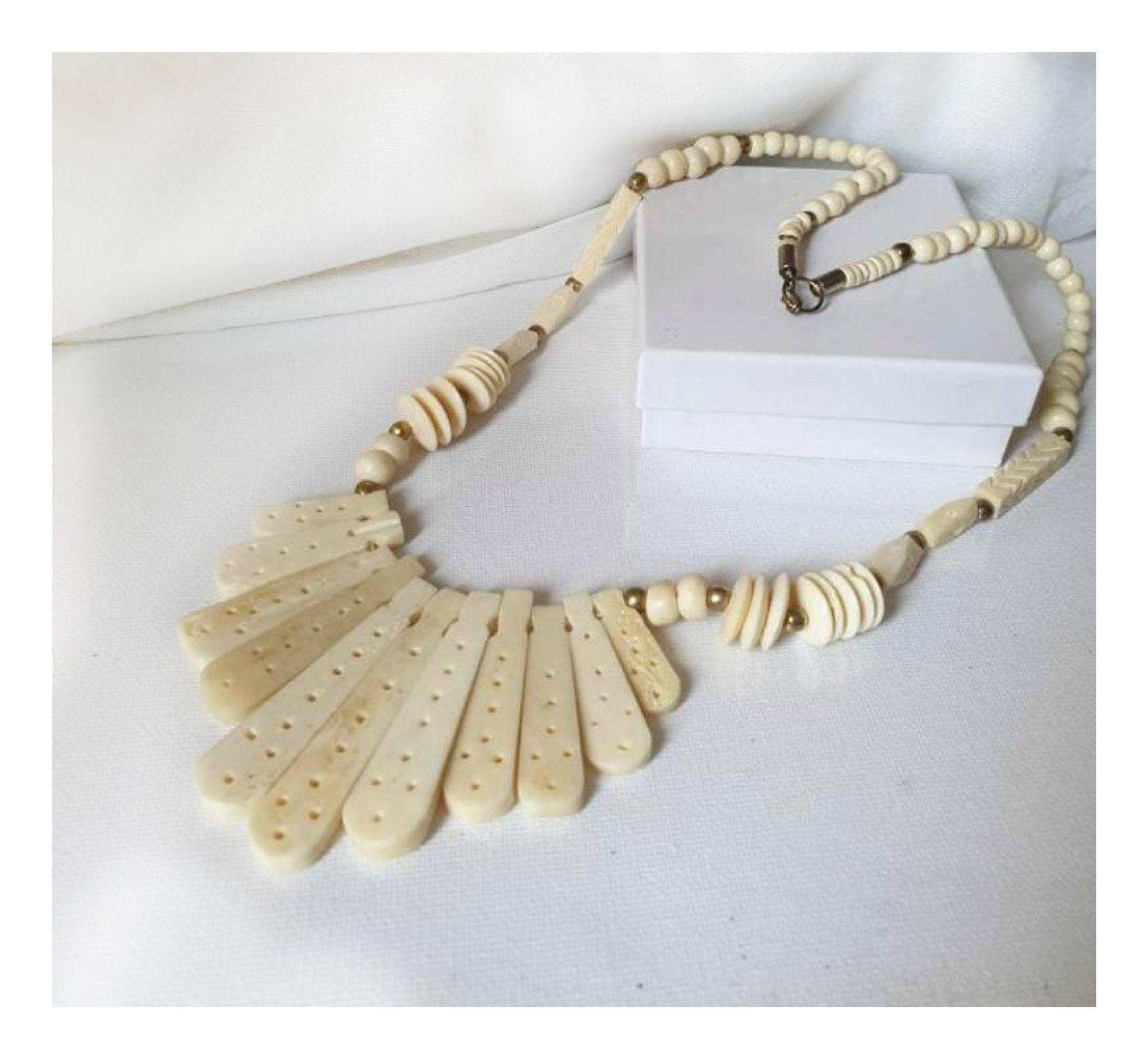 Vintage Carved Bovine Necklace Statement Hand Carved Bone Necklace Tribal Carved Necklace Carved Bovine Collar Necklace Black Bead Necklace Bone Necklace Collar Necklace