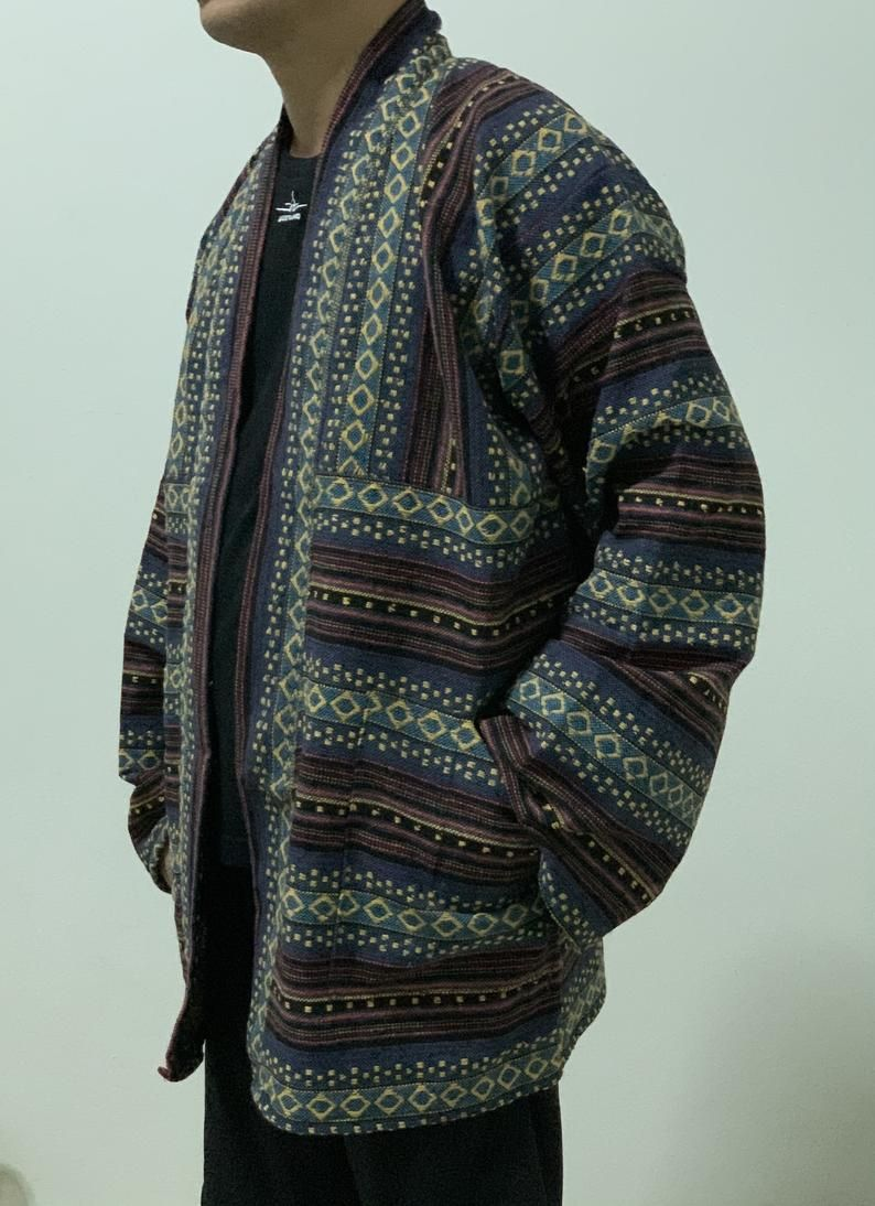 Mens tribal woven kimono, festival clothing, Hippi