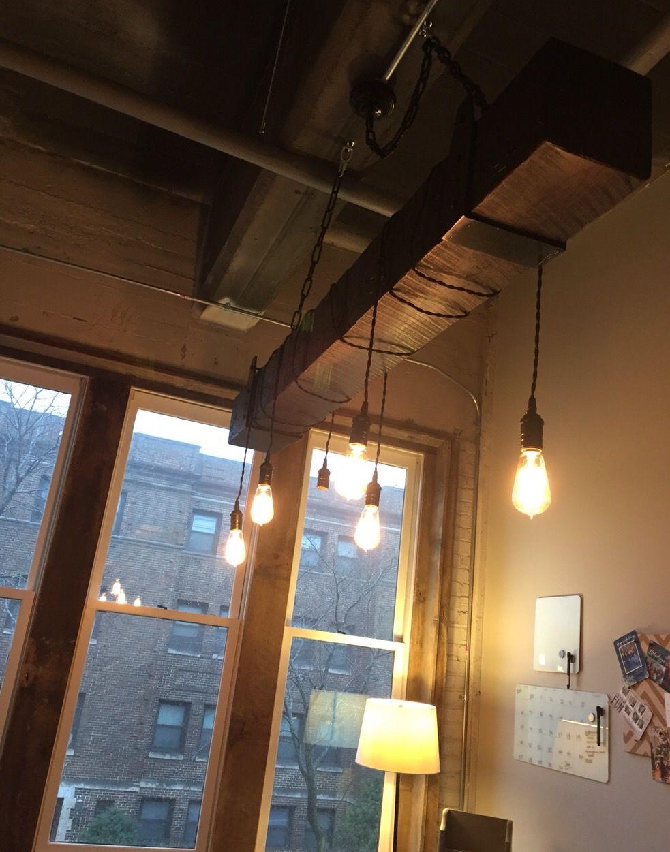 lighting beams. Lighting Beams. Reclaimed Wood Beam Chandelier With Vintage Lights Beams