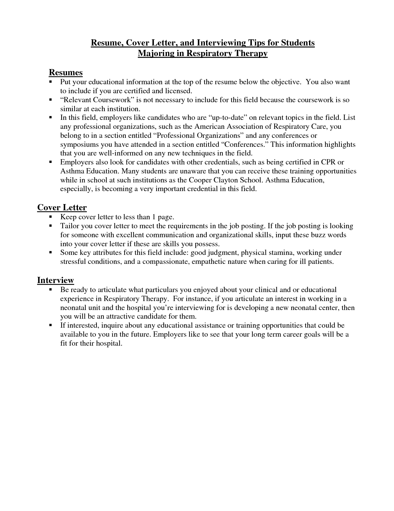 respiratory therapist cover letter  Resume Cover Letter and Interviewing Tips for Students