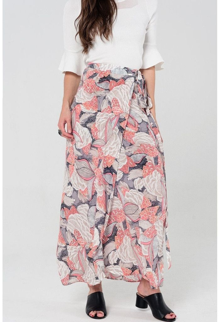 Floral wrap maxi skirt in pink and gray