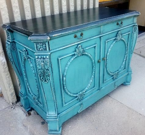 Painted Furniture Before And After | This Large Entry Piece/Small Buffet is transformed with Sea Blue and ...