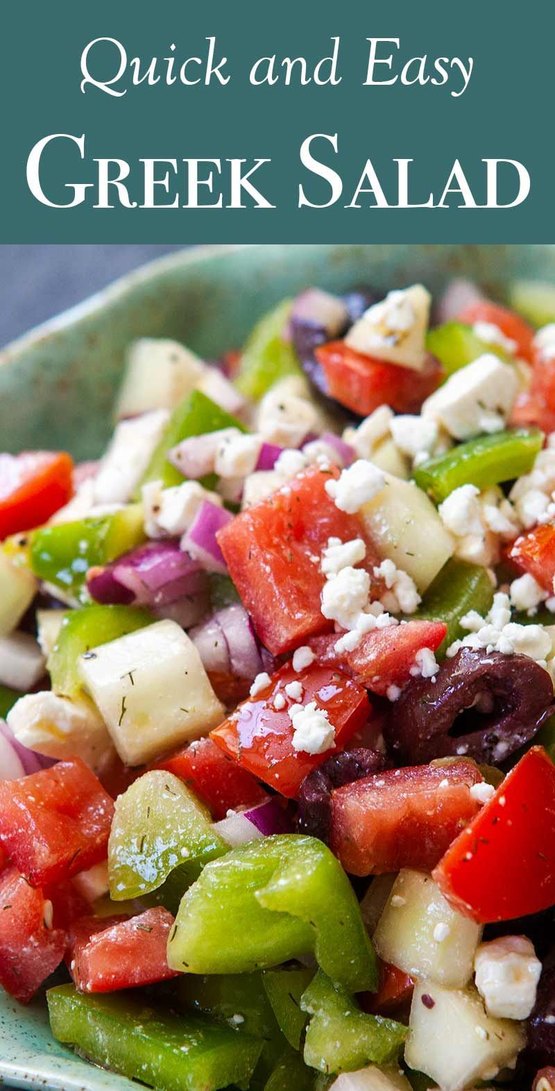 Easy Greek Salad Bellpepperrecipes This Easy Greek Salad Is Made With Plum Tomatoes Cucumbers Red Onion Bell Peppe Griechischer Salat Salat Sommer Picknick