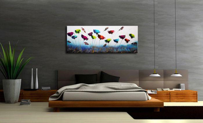 Schilderij \'Blue Garden\' van Ines in de slaapkamer - Kunstvoorjou.nl ...