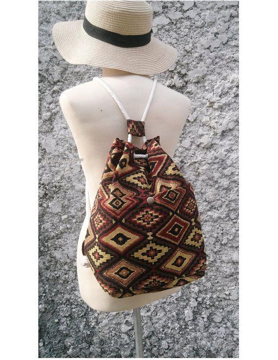 Drawstring Backpack Aztec Tapestry Boho Tribal Ethnic Ikat Woven Hippie  Design Rucksack Gypsy Nepali Handwoven Patterns Bags Beach School b7560d962f