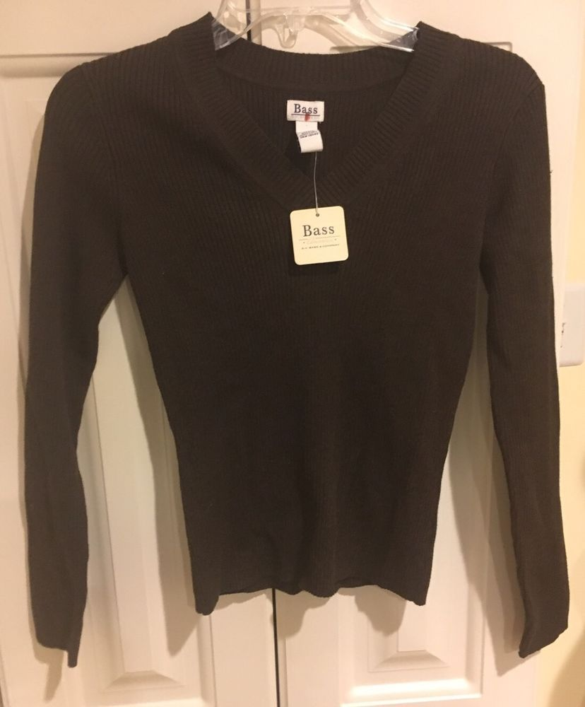 Details about Bass Womens Brown V Neck Cotton Sweater NWT $39.99 ...