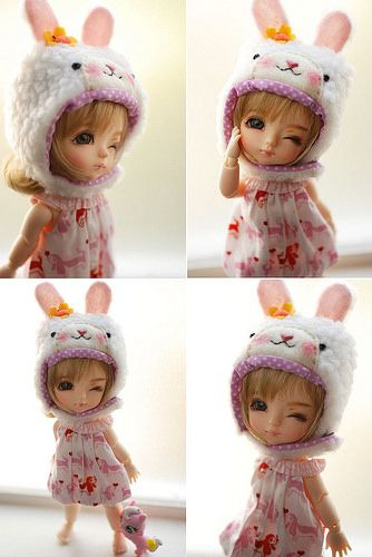 Latidoll yellow animal hat with fur chin strap - cream bunny | by Pei78