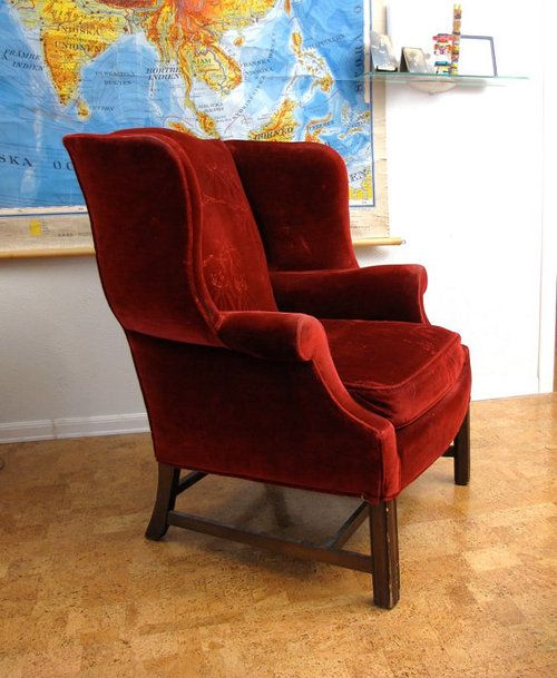 Great Red Velvet Wingback Club Chair Classic! This What I Want In Peacock Blue  Velvet