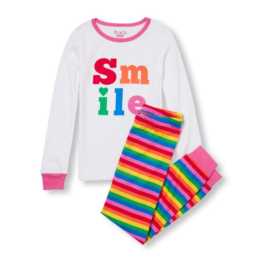 2ddf5c92 Girls Long Sleeve 'Smile' Top And Rainbow Stripe Pants PJ Set   DYT ...