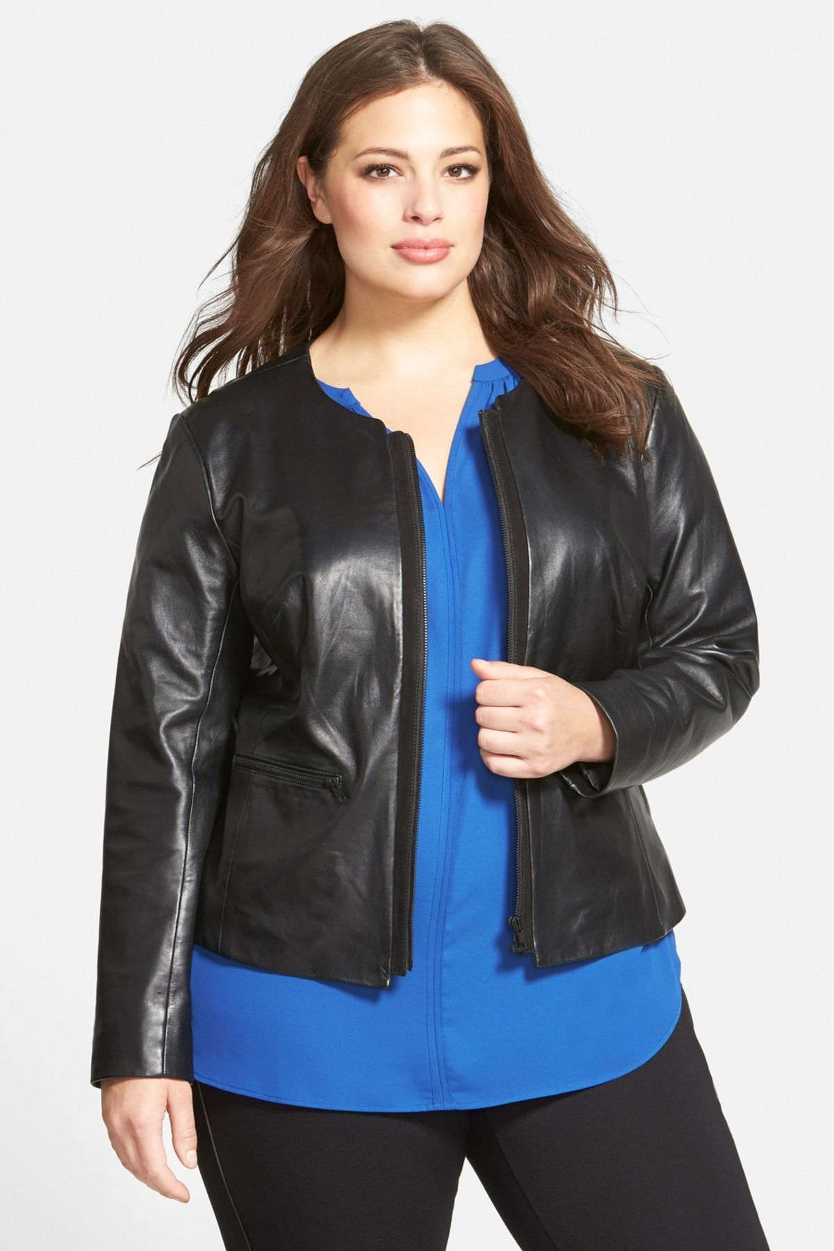 Suede Trim Leather Jacket (Plus Size) by Halogen on