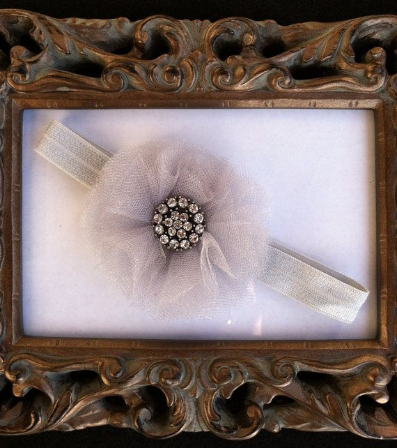 Gray Tulle Flower Headband with Rhinestone by VsChicBowtique, $8.99