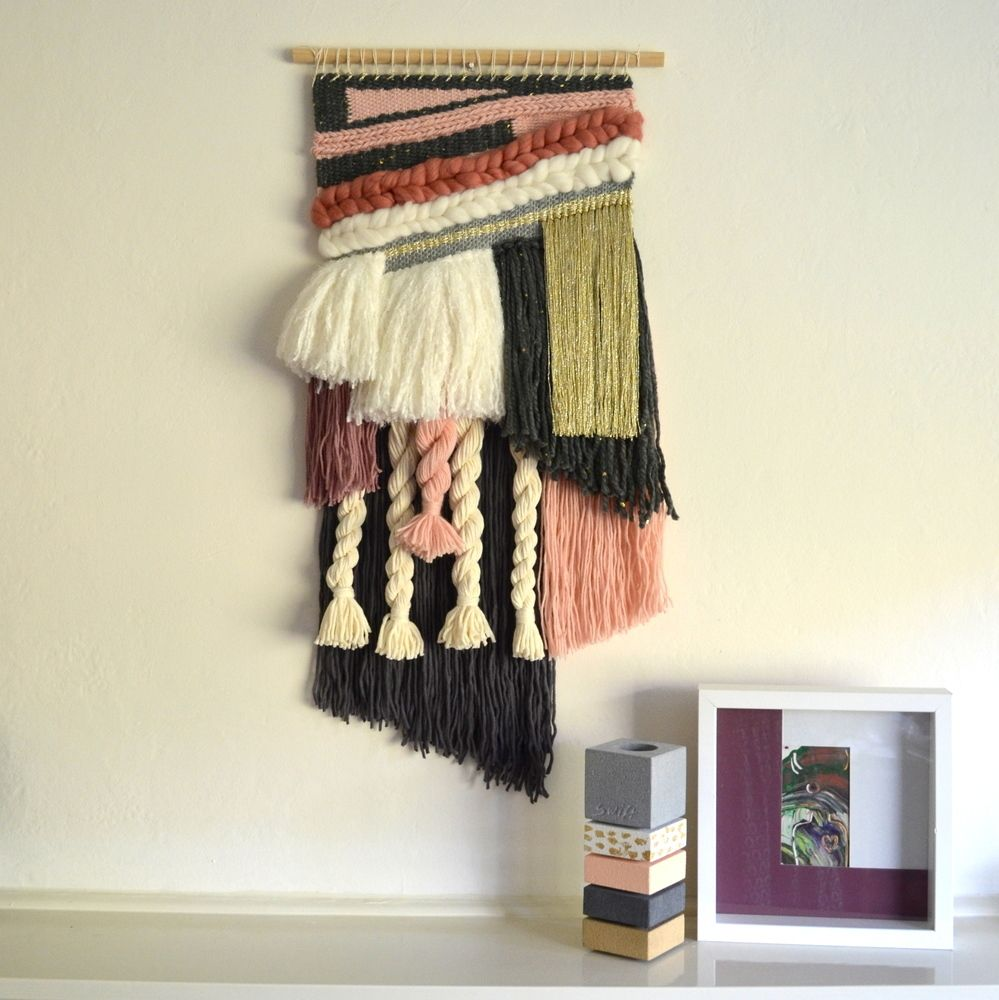 Hand woven using a variety of weaving techniques to create a lovely piece of art for your walls. Looking for a unique Valentine's Day gift for your loved one