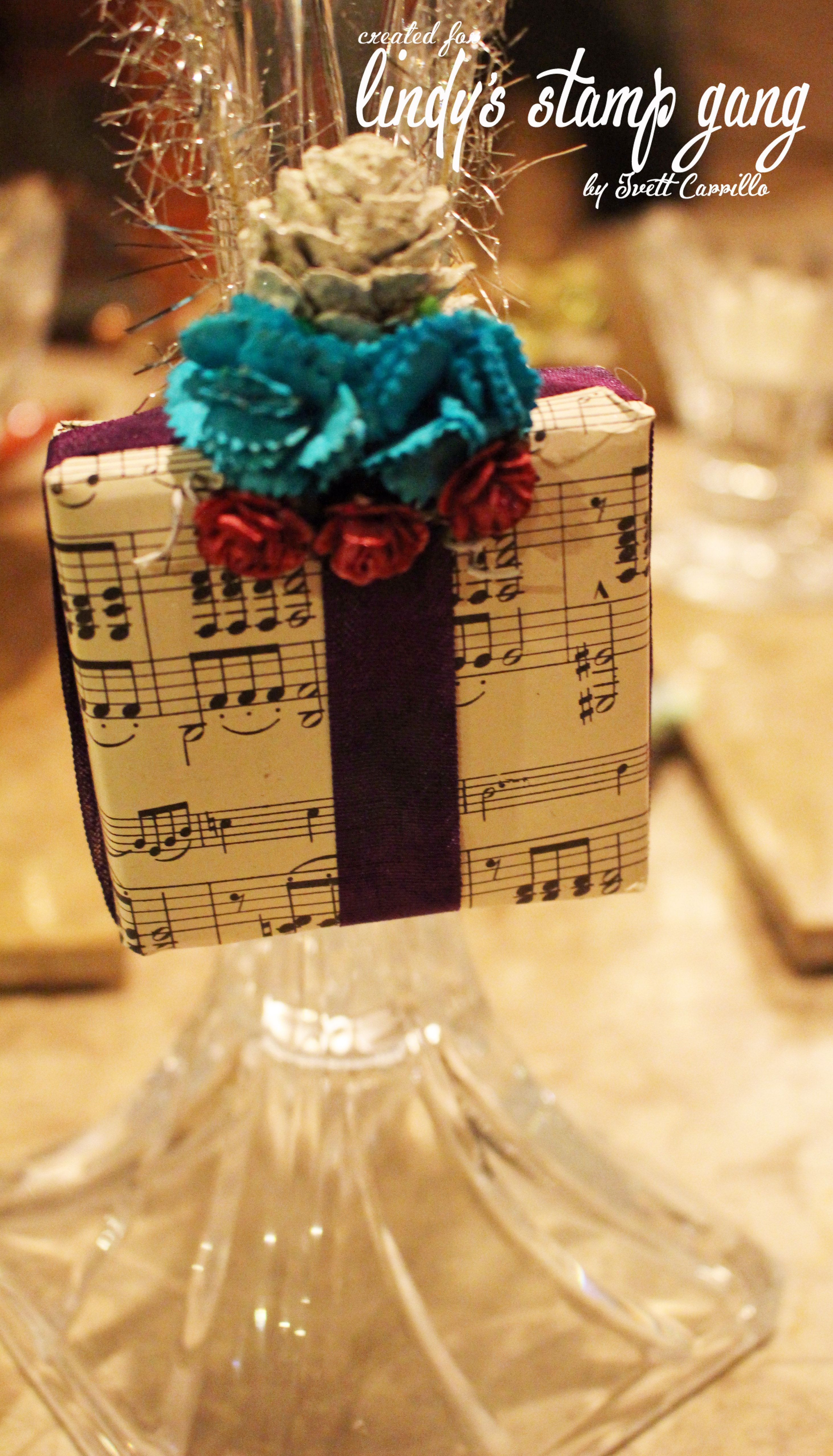 Vintage Music Paper Ornaments using Lindy's Stamp Gang