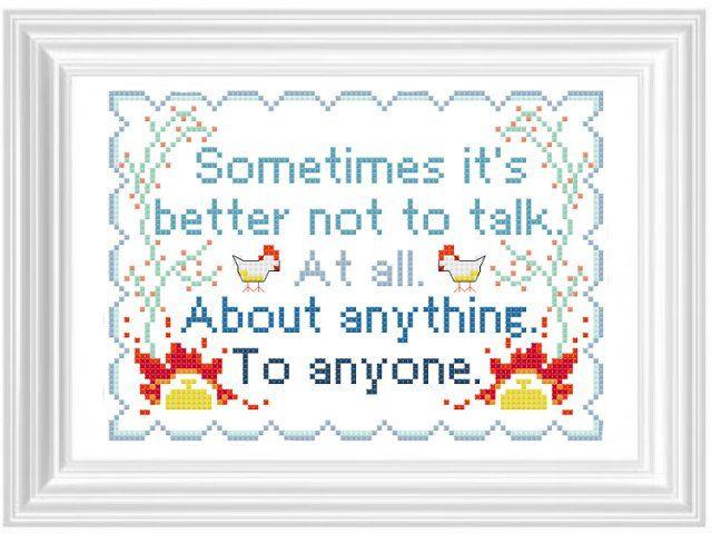 Breaking Bad Cross Stitch Pattern. Sometimes it's better not to talk.... £3.00, via Etsy.
