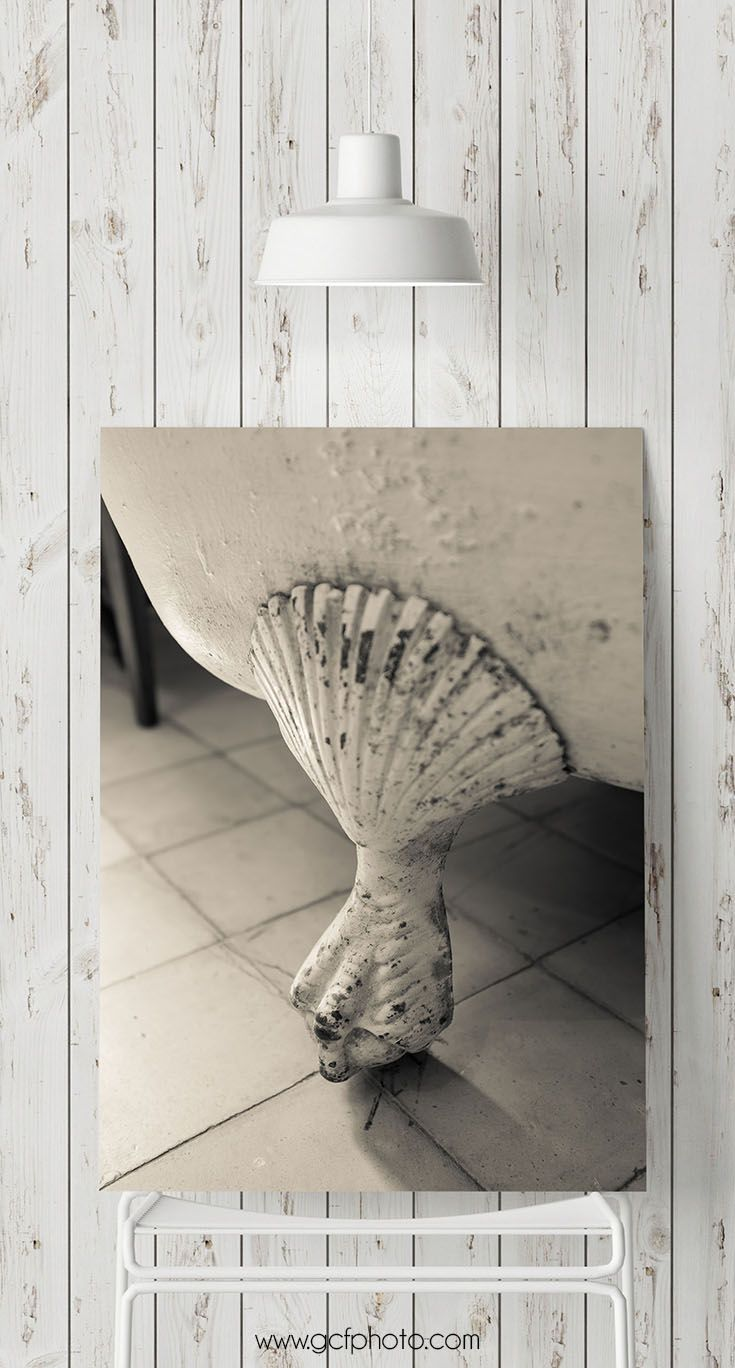 Bath decor print bathroom wall art victorian bathtub photo sepia