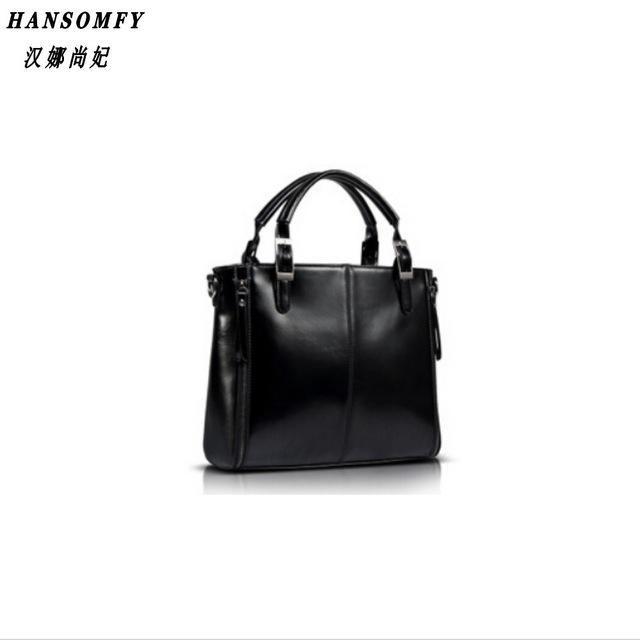 268335fef3 HNSF 100% Genuine leather Women handbags 2017 New Fashion Handbag Brown  Women Bag Vintage Messenger Bag Office Ladie Briefcase