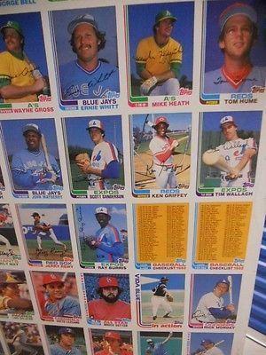 Topps Baseball Cards Rare Vintage Uncut Card Sheet 1982 Baseball
