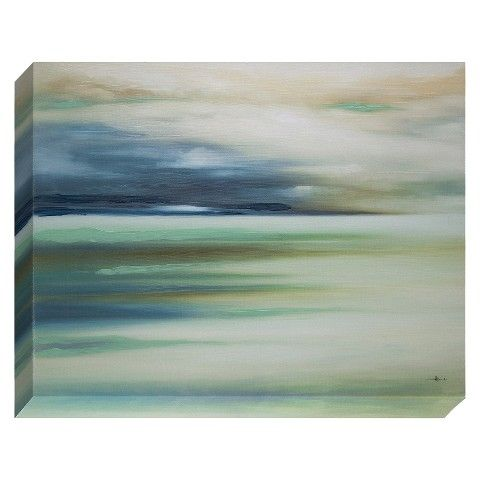 Landscape canvas wall art 22x28 ocean sea lake blue green mint tan white navy target