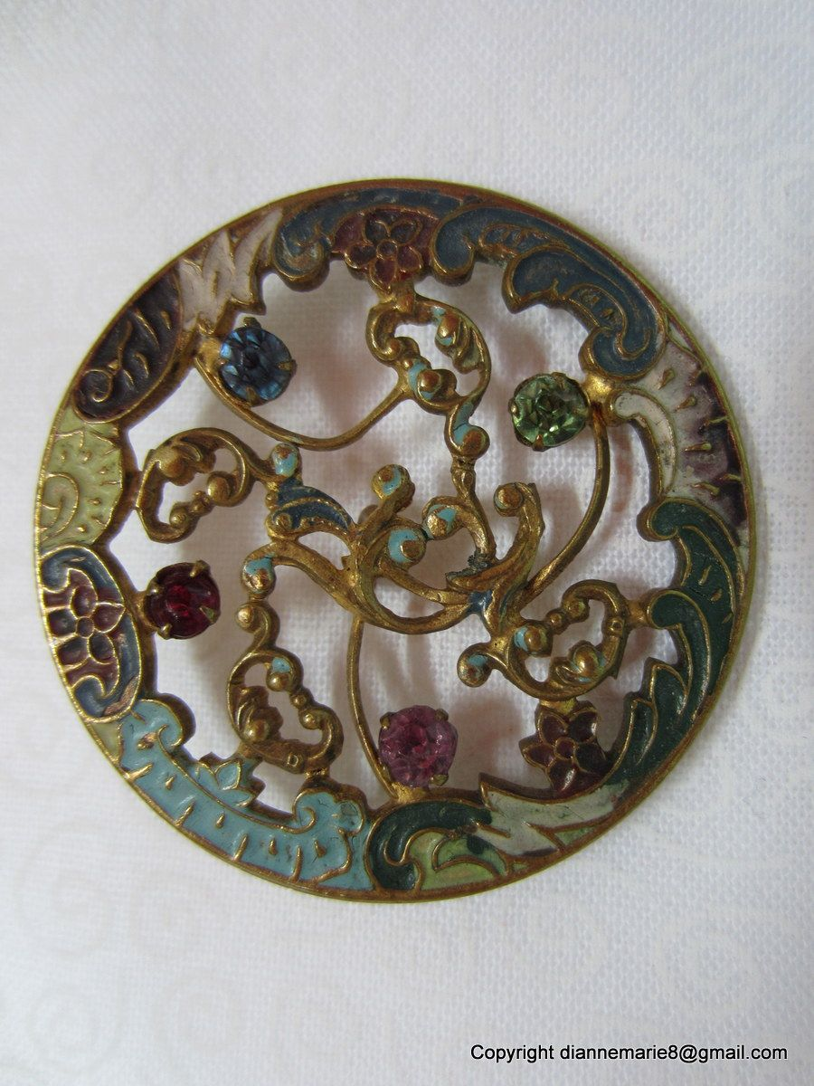 Gorgeous Enamel Open Work Brass Button - 1800s - Owner/Seller buttonfun7 on ebay.