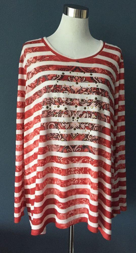 Cato long sleeve orange red embellished floral studded 22/24 casual stripes   | eBay