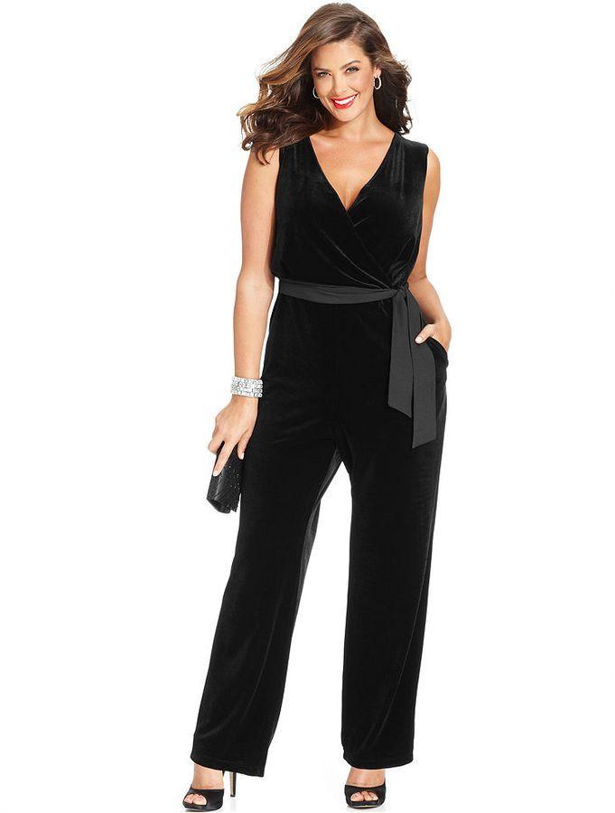 NY Collection Plus Size Sleeveless Velvet Belted Jumpsuit #plus #size #fashion #blog #dress #curvy #fatshion www.bigcurvylove.com favorite plus size fashion