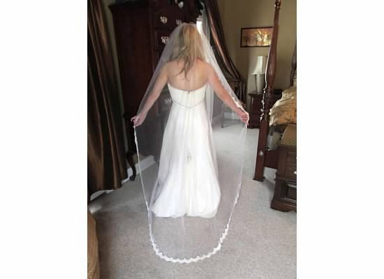 Hand -beaded floor length wedding veil. Lace on tulle with aurora borealis sequins and pearls.