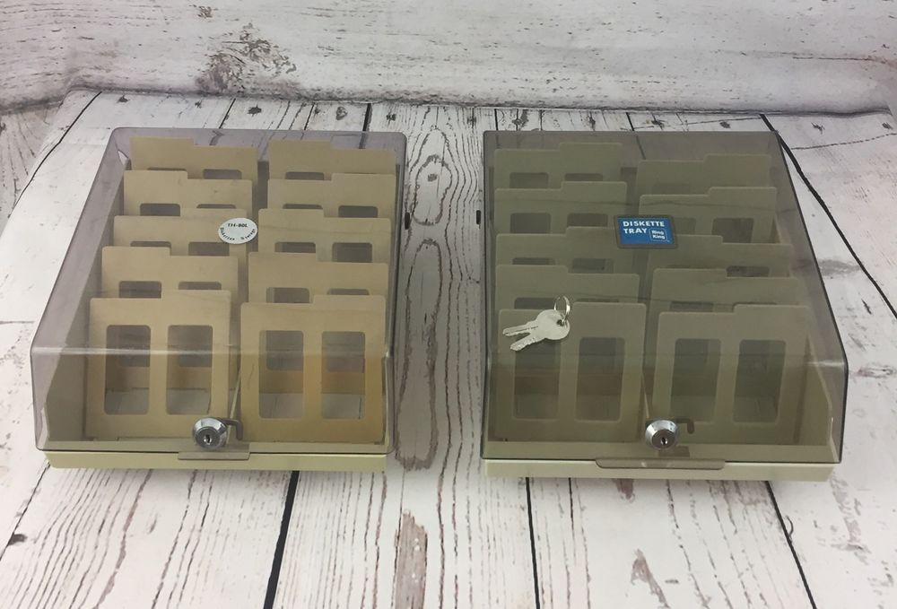 """Lot of 2 Double Sided Media PC 3.5"""" Floppy Disk Case File Box Storage Divided  #PCAccessories"""