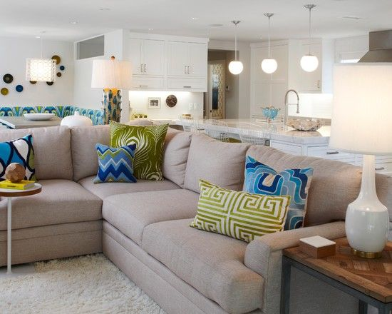 Adorable Modern House with White Boards: Cozy Living Room Beige Sofa Peninsula Point Residence