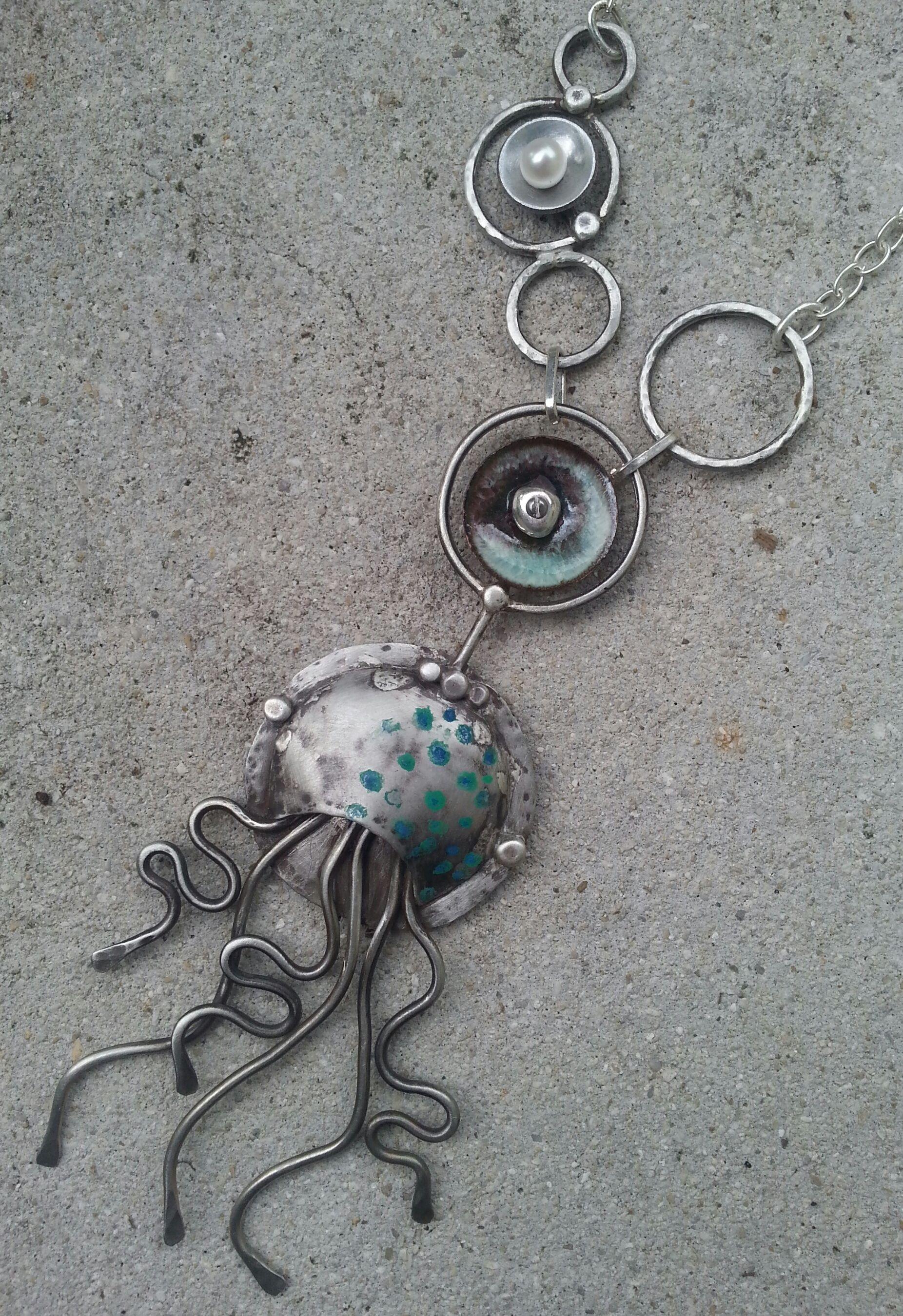 Nickel silver jellyfish pendant.