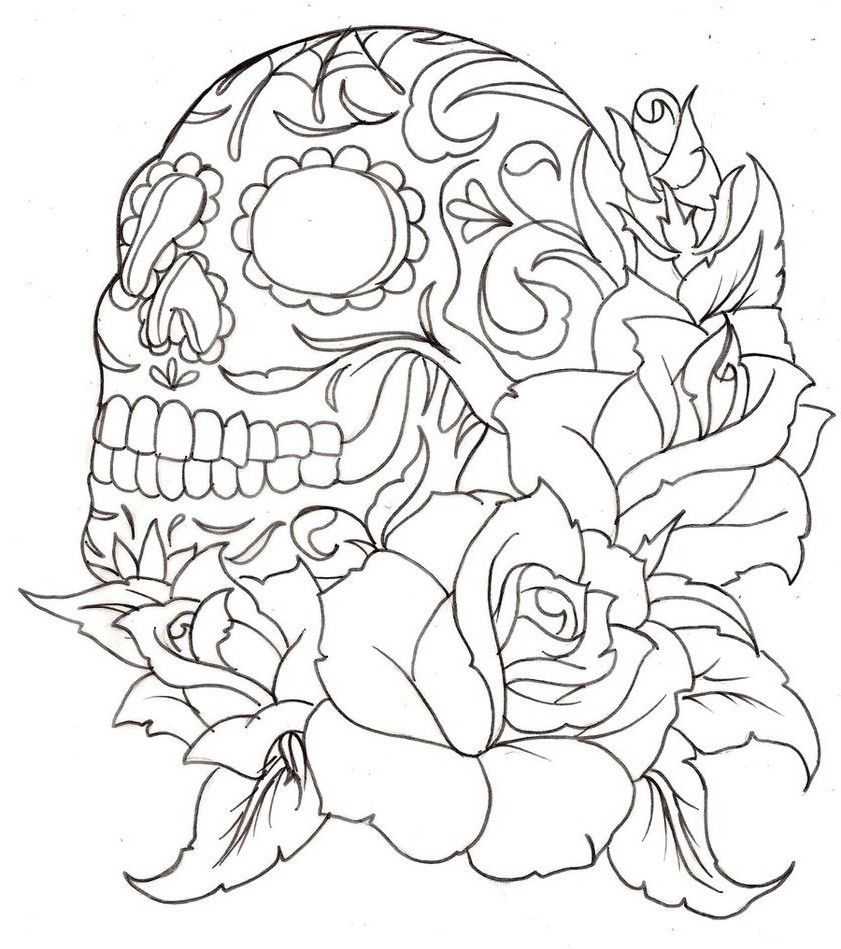 Paint By Numbers Free Printables For Adults Google Search Skull Coloring Pages Tattoo Coloring Book Rose Coloring Pages