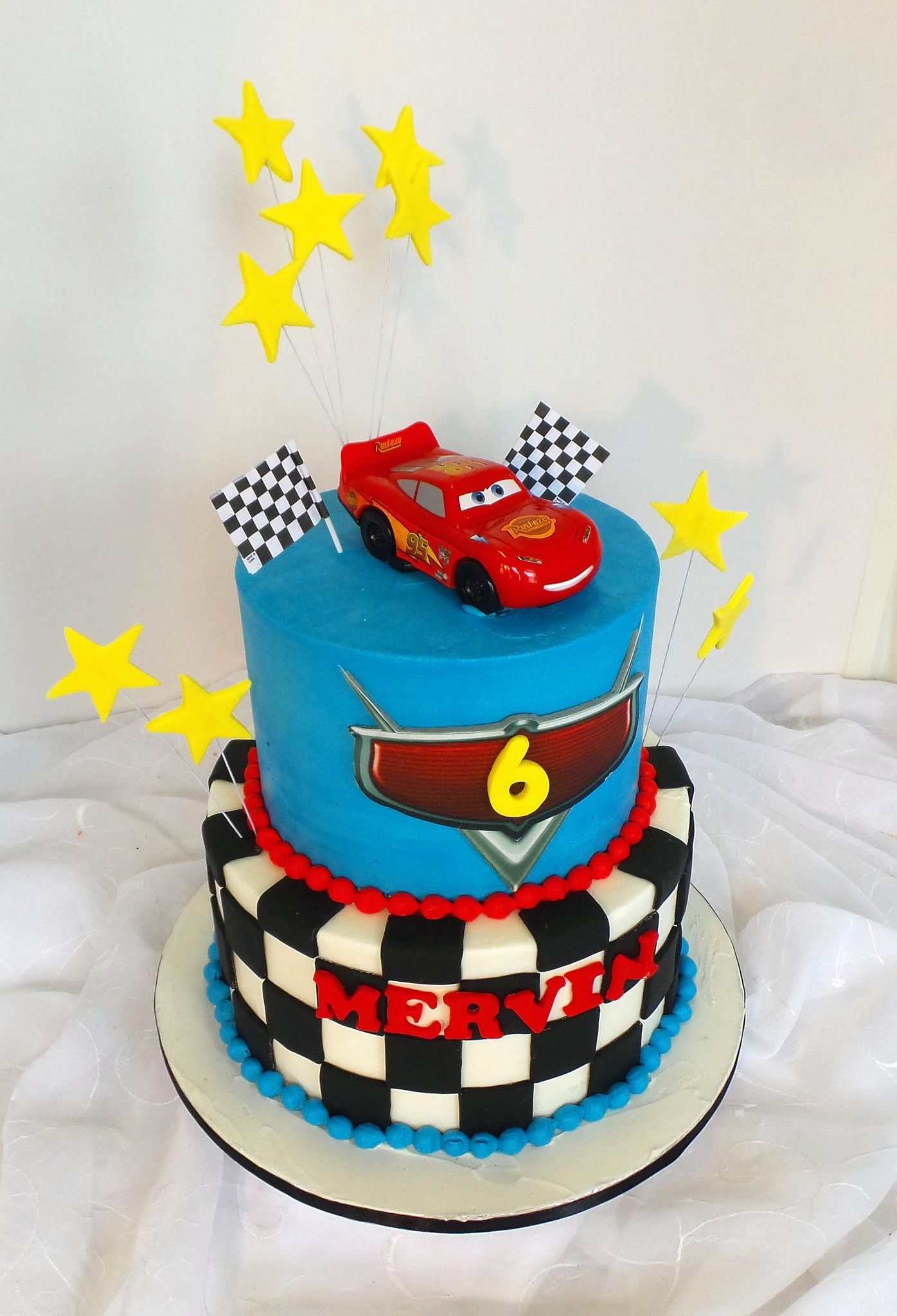 Two tier Cars themed birthday cake Cars themed birthday Birthday