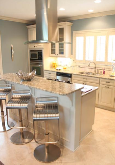 Cabinets For This Contemporary, Powder Blue Pool House Kitchen Provided By  The JAE Company.
