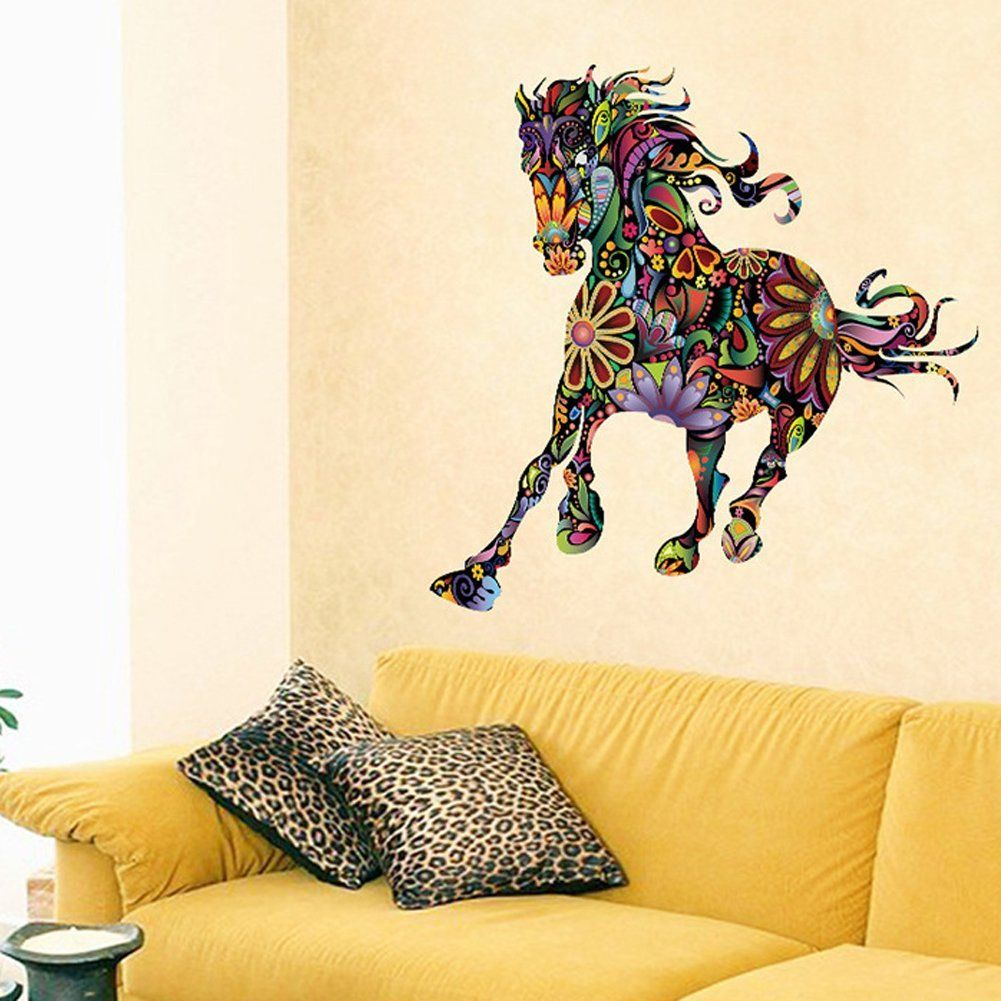 Fangeplus(TM) Colour Beautiful Horse DIY Removable Art Mural Vinyl ...
