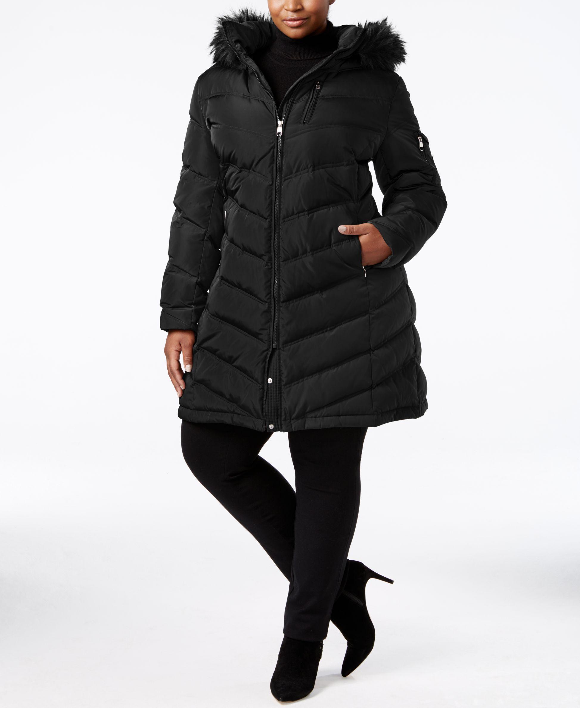6a87b2970a85a Calvin Klein Plus Size Faux-Fur-Trim Puffer Coat