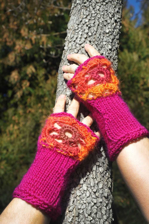 Fingerless Gloves, Pink Gloves, Hand knitted gloves
