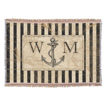 Old world map nautical anchor monogram throw blanket monogram old world map nautical anchor monogram throw blanket monogram gifts unique design style monogrammed diy gumiabroncs
