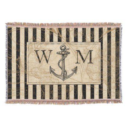 Old world map nautical anchor monogram throw blanket gumiabroncs Choice Image