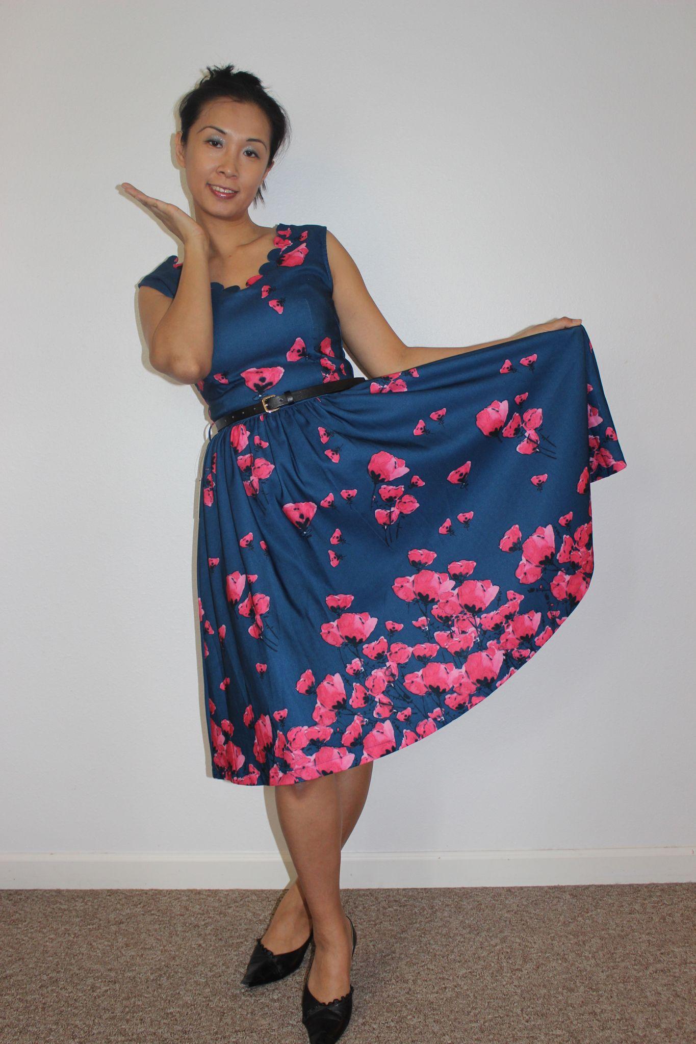9d68365df9110 Lindy Bop Daria midnight blue and pink poppy print | Susan Lindy Bop ...